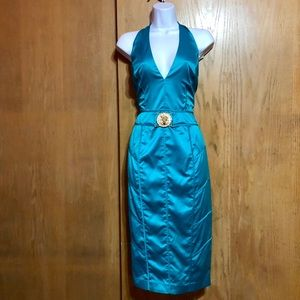 Marciano RARE Teal Jewel Satin Cocktail Dress NWT